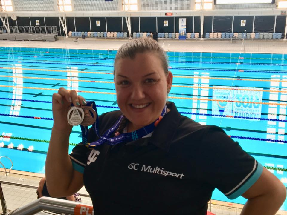 Suzie with medals in Adelaide 2019